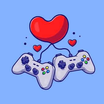 Konsola do gier z miłości serce kreskówka wektor ikona ilustracja. technologia rekreacja ikona koncepcja białym tle premium wektor. płaski styl kreskówki