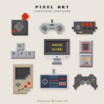Konsole ustawione w stylu pixel sztuki