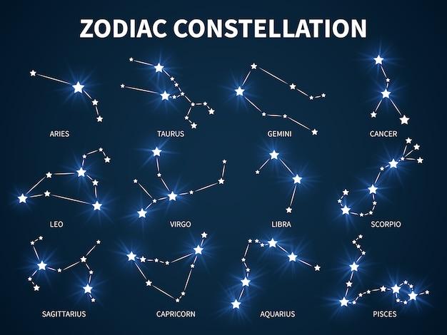 Konstelacja zodiaku. zodiakalna mistyczna astrologia ze świecącymi gwiazdami