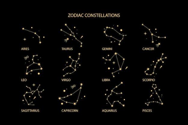 Konstelacje zodiakalne w kolorze złotym.