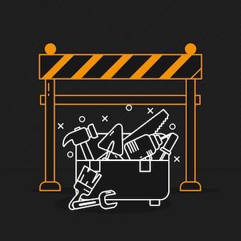 Konstrukcja bariery ostrzegawczej i skrzynki narzędziowej