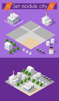 Konstrukcja budowlana dla izometrycznej konstrukcji płaskiej z krajobrazem miejskim i przemysłowymi budynkami fabrycznymi
