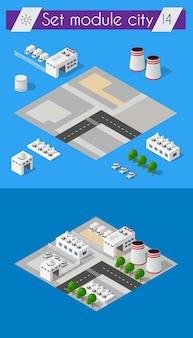 Konstrukcja budowlana dla izometrycznej płaskiej konstrukcji z miejskim krajobrazem i przemysłowymi budynkami fabrycznymi