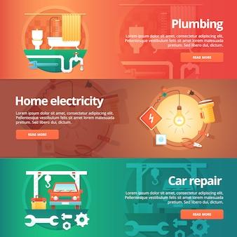 Konstrukcja i zestaw budynków. ilustracje na temat domowej instalacji wodno-kanalizacyjnej, elektryczności, warsztatu samochodowego. pojęcie.
