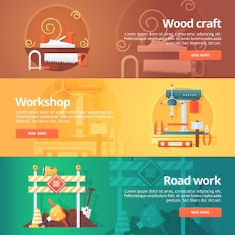 Konstrukcja i zestaw budynków. ilustracje na temat rzemiosła drzewnego, warsztatu metalowego i konserwacji robót drogowych. pojęcie.