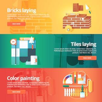 Konstrukcja i zestaw budynków. ilustracje na temat układania cegieł i płytek, malowanie dekoracyjne w kolorze. pojęcie.