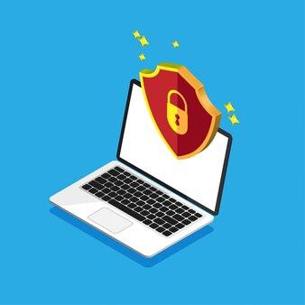 Konstrukcja izometryczna ochrony plików. koncepcja bezpieczeństwa danych i prywatności na wyświetlaczu komputera. bezpieczne informacje poufne. laptop z czerwoną tarczą na pokazie. ilustracja.