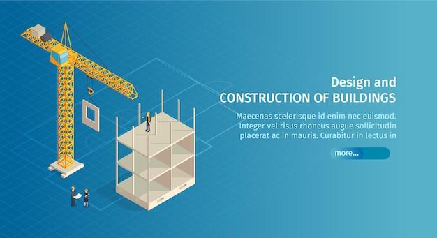 Konstrukcja izometryczna poziomy baner z tekstem przycisku suwaka i obrazami dźwigu z częściowo zbudowanym budynkiem