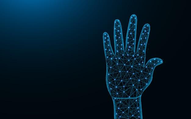 Konstrukcja low poly ludzkiej dłoni