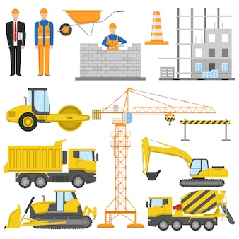 Konstrukcja płaskich elementów z architektem i pracownikiem budującym maszyny i system barier materiałowych na białym tle