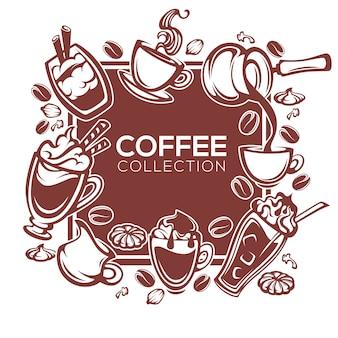 Konstrukcja ramy dla kawiarni lub restauracji z obrazami kawy