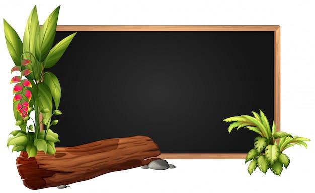 Konstrukcja ramy z logiem i liśćmi