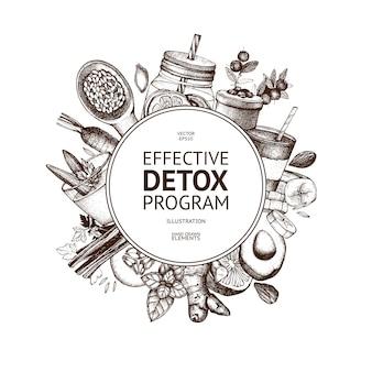 Konstrukcja ramy z ręcznie rysowane detox ilustracja. tło szkic żywności ekologicznej. skuteczne składniki diety. vintage szablon