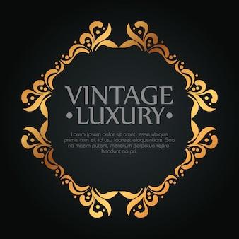 Konstrukcja ramy z stylem ornament na luksusowe etykiety, szablon tekstowy