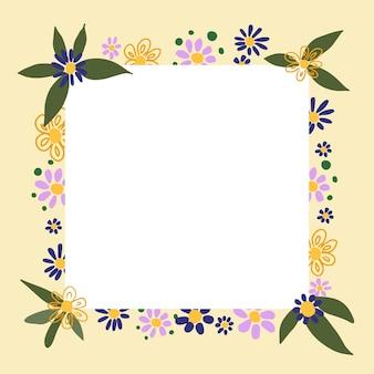 Konstrukcja ramy z uroczymi kwiatami i liśćmi szablon karty z pozdrowieniami wektor ręcznie rysowane ilustracji