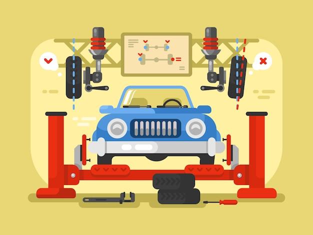 Konstrukcja samochodu z zawieszeniem płaska