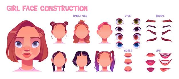 Konstrukcja twarzy dziewczyny, tworzenie awatara z różnymi częściami głowy na białym tle