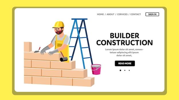 Konstruktor budowy budynku z cegły wektora. budowniczy budowy buduje i tworzy brickwall z bloków i cementu. postać złota rączka murowanie ściany internetowej płaskie ilustracja kreskówka