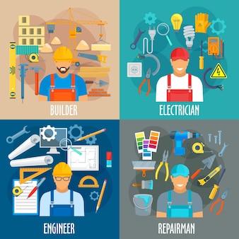 Konstruktor elektryk inżynier i zawody mechanika pracownicy z narzędziami roboczymi do naprawy budowlanej lub wykańczającej kielnia wiertła i miarka szczypce i pędzel do malowania śrubokręt i klucz
