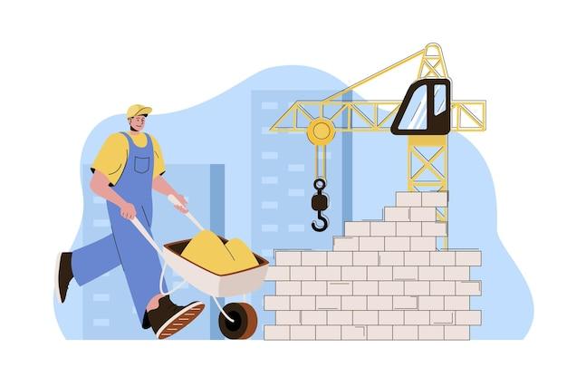 Konstruktor koncepcji nieruchomości z taczką pracuje na placu budowy