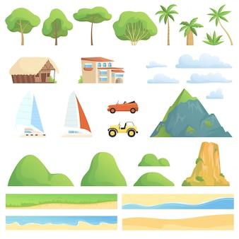 Konstruktor krajobrazu ogrody nad rzekami domy transportują góry i wzgórza, drzewa, zestaw do tworzenia kreskówek