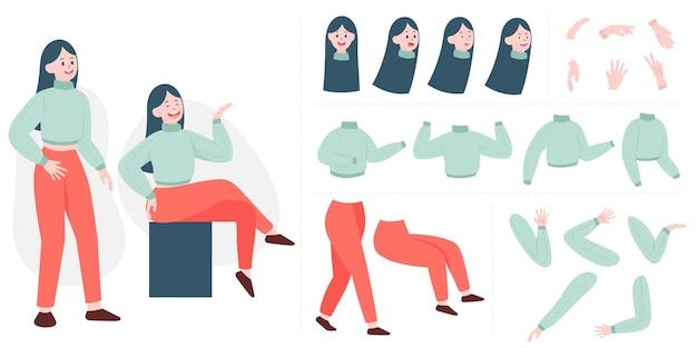 Konstruktor ładna młoda kobieta w stylu płaski. części ciała, nogi i ramiona, emocje twarzy. postać z kreskówki