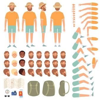 Konstruktor ludzi podróży. części ciała szczęśliwych podróżników z różnymi strojami turystycznymi