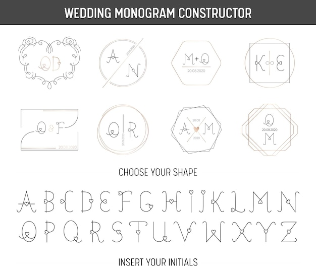 Konstruktor monogram ślubny, nowoczesna minimalistyczna kolekcja szablonów zaproszeń, zapisz datę, tożsamość logo z czcionką cute heart w wektorze