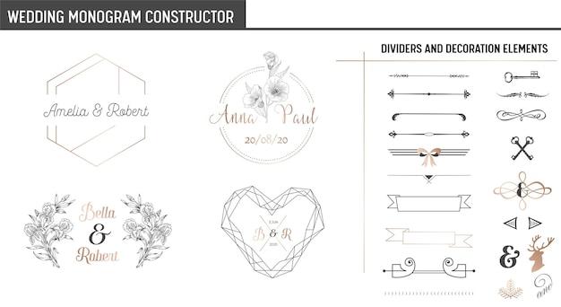 Konstruktor monogramów ślubnych, nowoczesna, minimalistyczna kolekcja szablonów zaproszeń, zapisywanie daty, tożsamość logo w wektorze