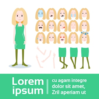 Konstruktor postaci dziewczyna zestaw różnych kobiecych twarzy emocji, rąk, nóg części ciała