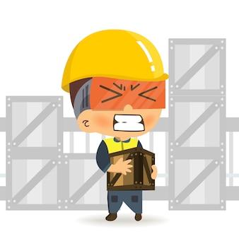 Konstruktor postaci kreskówka pracownik chodzenia niosąc ciężkie pudełko i dostać ból z pleców.