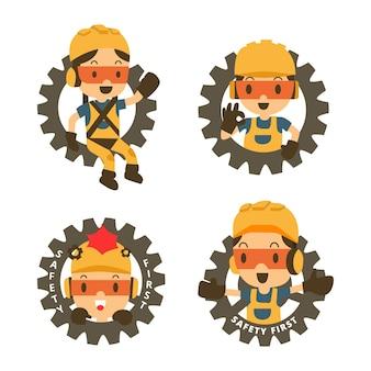 Konstruktor postaci w ikonie koła zębatego. koncepcja bezpieczeństwa