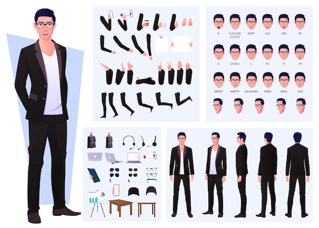 Konstruktor postaci z biznesmenem w garniturze i okularach, gestami rąk, emocjami i synchronizacją ust
