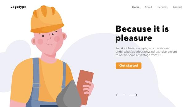 Konstruktor pracuje na budowie