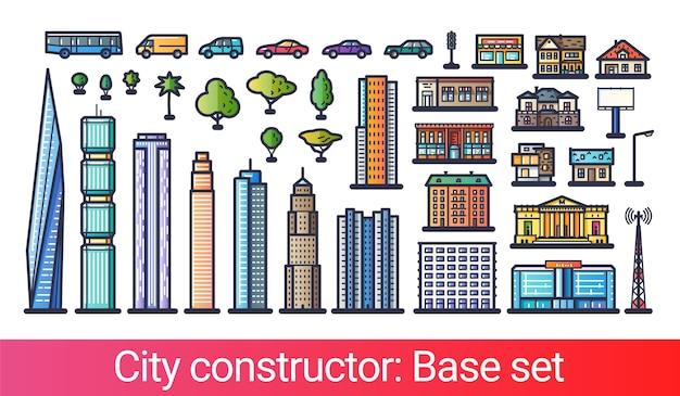 Konstruktor streszczenie miasta w stylu linii płaskiej. zestaw podstawowy z ikonami wieżowców, mieszkań, domów, sklepów, transportu, drzew i innych budynków. kompatybilny z moimi innymi miejskimi zestawami konstruktorów.