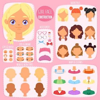 Konstruktor twarzy dla dzieci postać avatar i dziewczęca kreacja głowa wargi lub oczy ilustracja dziewczęcy zestaw elementów twarzy z fryzurą dla dzieci na tle