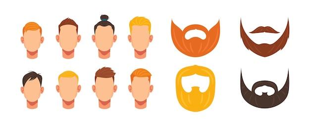 Konstruktor twarzy męskiej, awatar głów tworzenia postaci rasy kaukaskiej mężczyzna, fryzura, wąsy i brody hipster. elementy twarzy do budowy wyglądu młodego chłopca. ilustracja kreskówka wektor zestaw