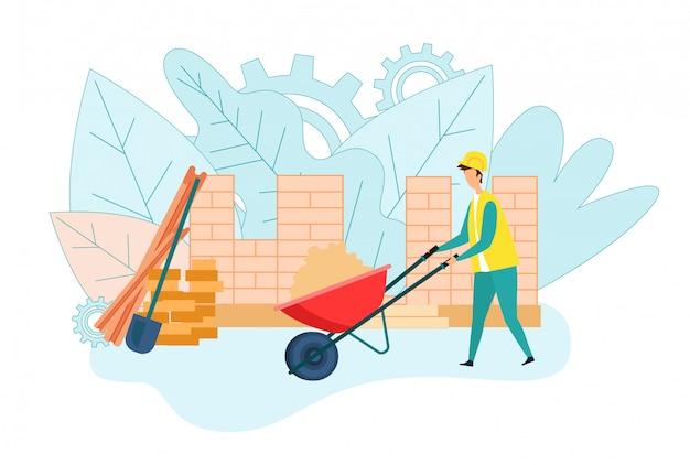 Konstruktor wnosząc piasek w pracy złotej rączki taczki