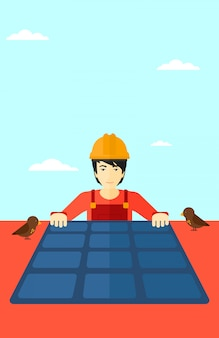 Konstruktor z panelem słonecznym.
