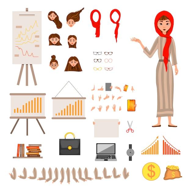 Konstruktor zestaw znaków kobiecych. dziewczyna z pieniężnymi atrybutami na białym tle.