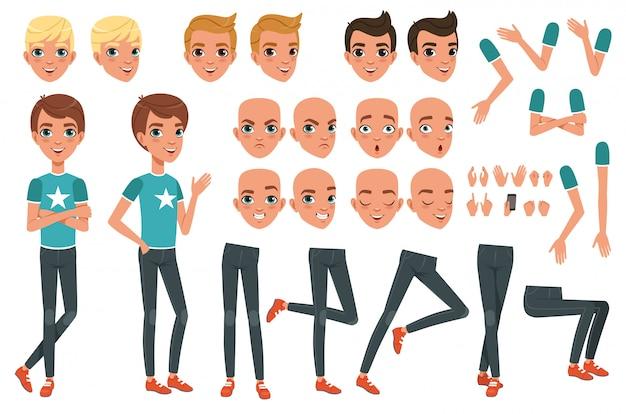 Konstruktor znaków młody człowiek z części ciała nogi, ręce, gesty dłoni. zły, niezadowolony, zaskoczony i spokojny wyraz twarzy. chłopiec na całej długości. stylowe fryzury. płaskie wektor