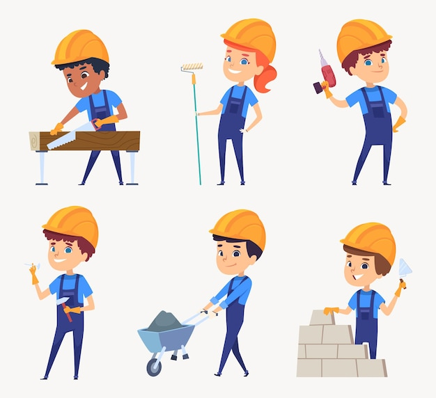 Konstruktorzy dla dzieci. praca dzieci w hełmach małych konstruktorów postaci. pracownik ilustracyjny i konstruktor w mundurze zawodowym