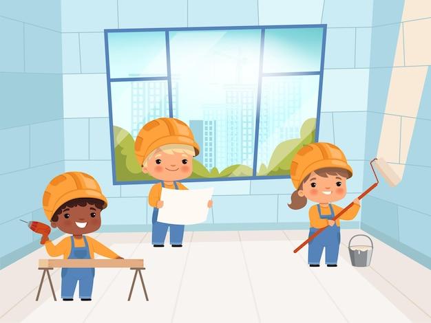 Konstruktorzy dla dzieci. zabawni młodzi konstruktorzy dźwigów i ceglanych ścian tworzą postacie. charakter konstruktora, profesjonalna ilustracja przemysłowa pracownika