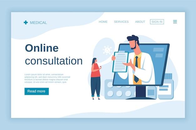 Konsultacja lekarska online pacjenta cyfrowa wizyta medyczna apteka koncepcja ubezpieczenia zdrowotnego