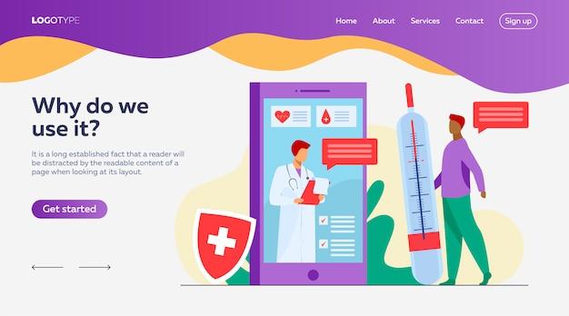 Konsultacja lekarza online za pośrednictwem szablonu strony docelowej smartfona