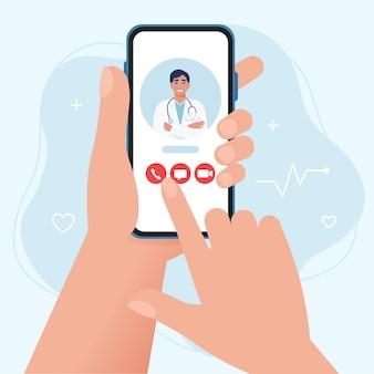 Konsultacja medyczna i leczenie konsultacja lekarza online w smartfonie