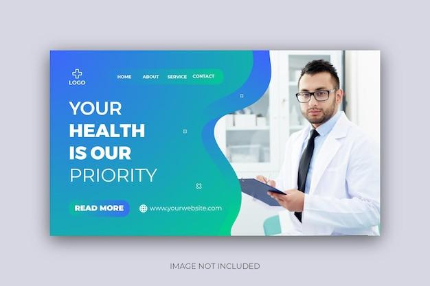 Konsultacja medyczna w zakresie opieki zdrowotnej projekt szablonu banera internetowego na stronę docelową