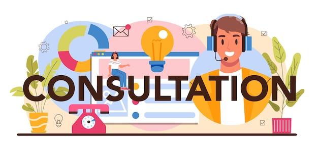 Konsultacja nagłówka typograficznego. specjalista zajmujący się badaniami i rekomendacjami