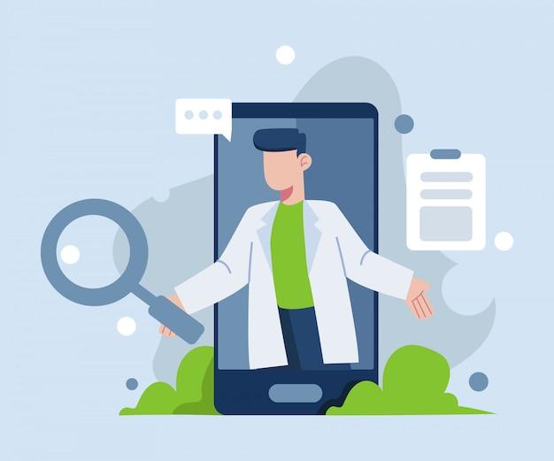 Konsultacja online z ilustracją lekarza