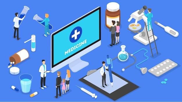 Konsultacja online z lekarzem. zdalne leczenie za pomocą smartfona lub komputera. serwis mobilny. ilustracja izometryczna